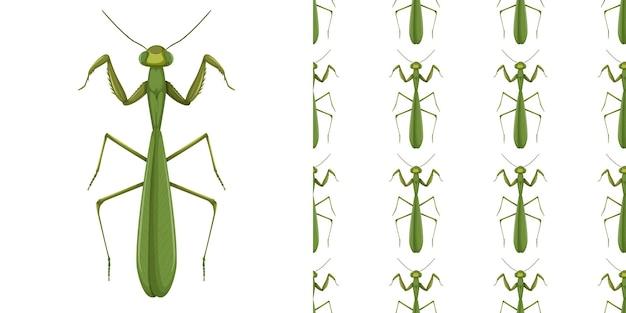 Mantis insect en naadloze achtergrond