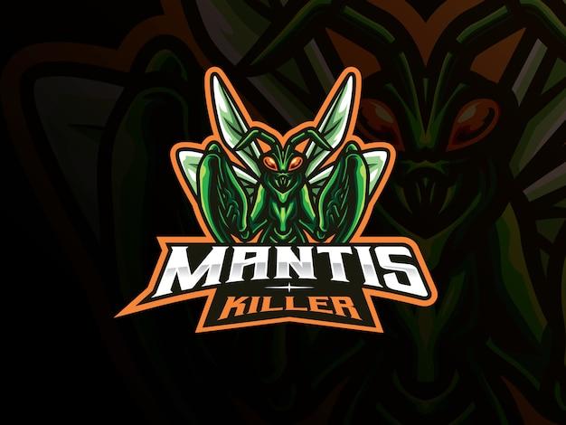 Mantis mascotte sport logo-ontwerp