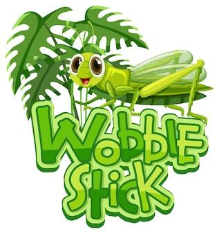 Mantis stripfiguur met wobble stick lettertype banner geïsoleerd