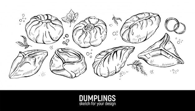 Manty, dumplings, pyanse en buuzy. hand tekenen schets.