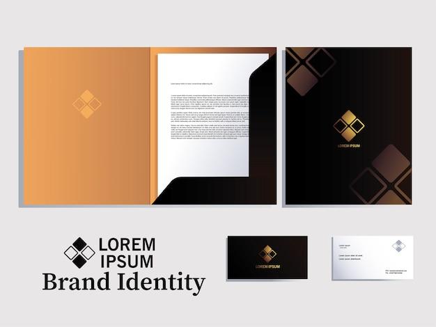 Map en notitieboekelementen van merkidentiteit corporatie kleur donker afbeelding ontwerp