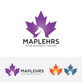 Maple leaf en paard logo sjabloon