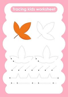 Maple trace-lijnen oefenwerkblad voor schrijven en tekenen voor kinderen