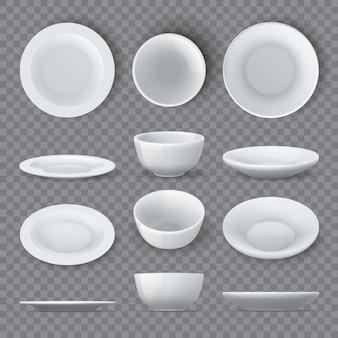 Maquettes voor dinerborden. realistische witte keramische schalen en lege kom boven-, hoek- en zijaanzichten. porseleinen ronde servies schotel 3d vector set. illustratie van realistisch porseleinen servies