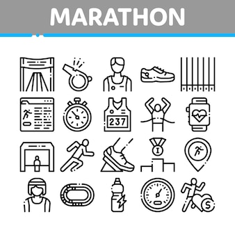 Marathon collectie elementen icons set