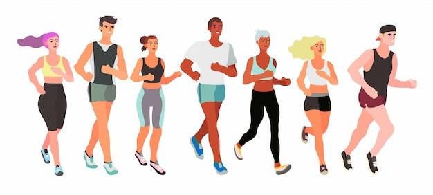 Marathon lopende mannen en vrouwen.