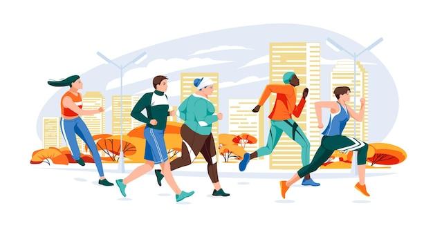 Marathon race groep platte cartoon moderne vectorillustratie van het runnen van mannen en vrouwen in de herfst c