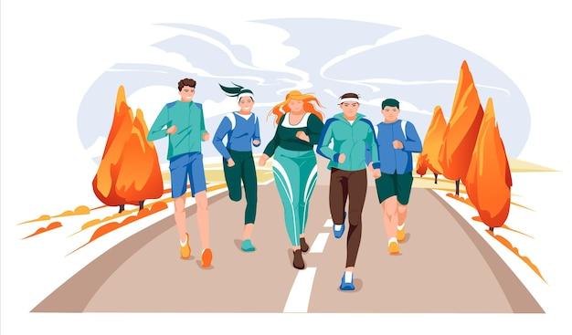 Marathon race groep platte cartoon moderne vectorillustratie van het runnen van mannen en vrouwen in de herfst r