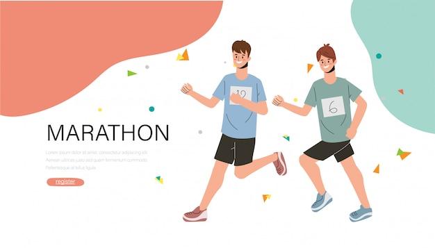 Marathon runner race sport banner