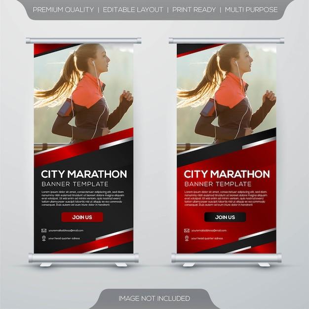 Marathon stand xbanner rollup sjabloonontwerp