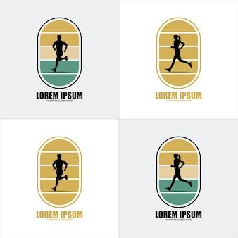 Marathonloop. groep lopende mensen, mannen en vrouwen. geïsoleerde vector silhouetten