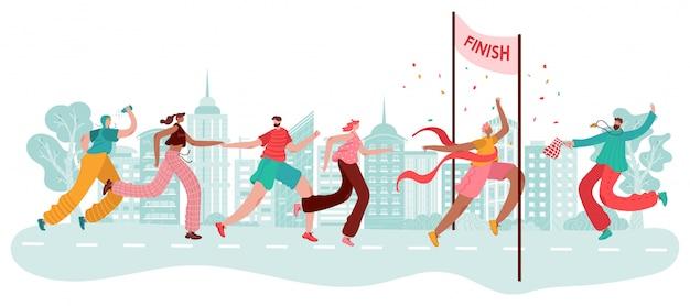 Marathonlopers, sportwinnaar bij aankomst, atletenrace, competitie in stadsjogging en cartoonillustratie uitvoeren.