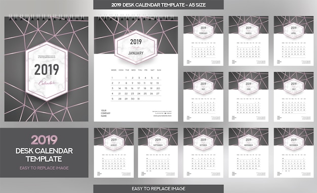 Marble desk calendar 2019 sjabloon