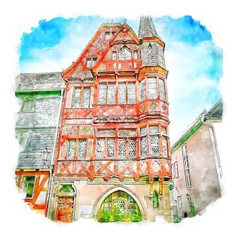 Marburg duitsland aquarel schets hand getekende illustratie