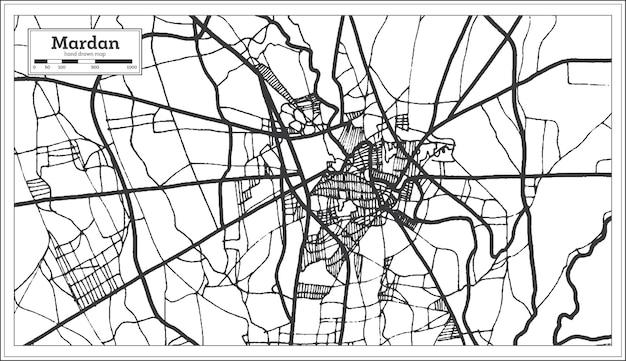 Mardan pakistan stadsplattegrond in retro stijl in zwart-witte kleur. overzicht kaart. vectorillustratie.