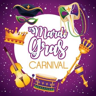 Mardi gras carnaval belettering met set pictogrammen rond illustratie