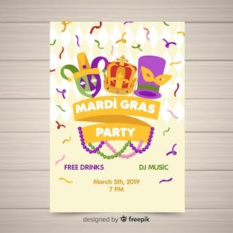 Mardi gras carnaval partij flyer sjabloon