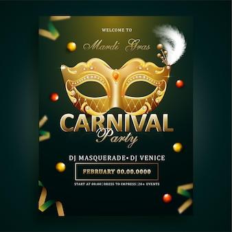Mardi gras, carnavalsfeest flyer