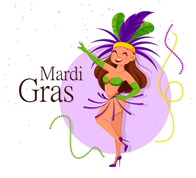 Mardi gras carnival met schattige dame danseres