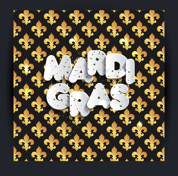 Mardi gras-decoratie. naadloze patroon op zwart