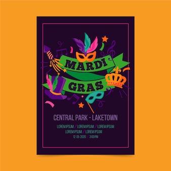 Mardi gras evenement met sjabloon voor maskers en linten folder