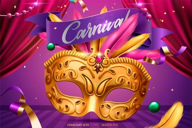 Mardi gras-feest met gouden masker en veer in 3d illustratie, toneelachtergrond