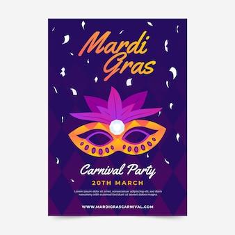 Mardi gras flyer-sjabloon in plat ontwerp