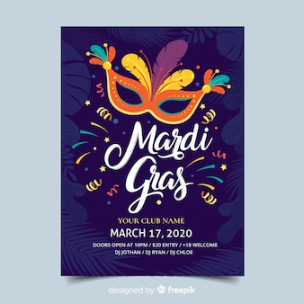 Mardi gras flyer sjabloon
