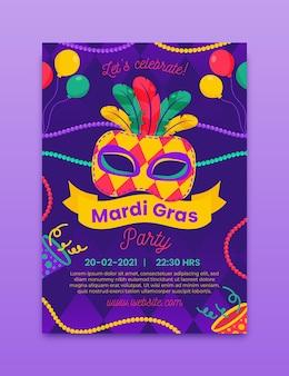 Mardi gras flyer-sjabloon