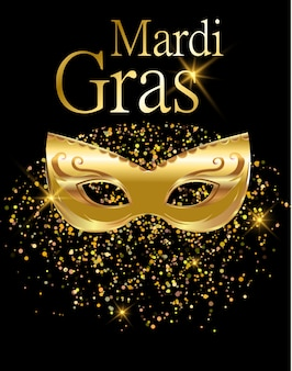 Mardi gras gouden carnaval masker