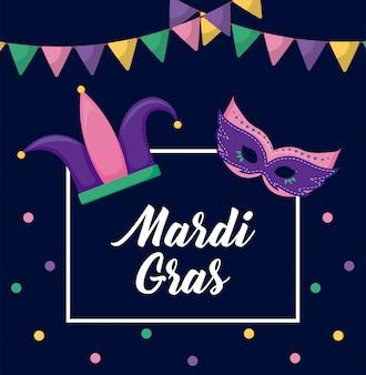 Mardi gras kaart met joker hoed en masker