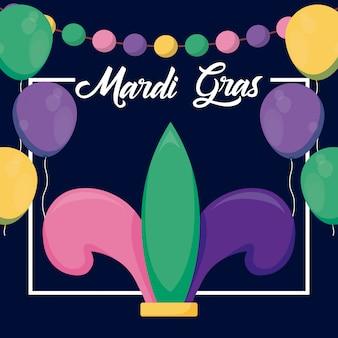 Mardi gras-kaart met jokerhoed