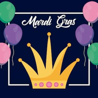 Mardi gras-kaart met koningin kroon