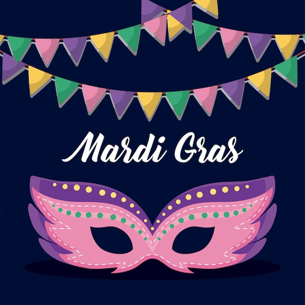 Mardi gras-kaart met masker