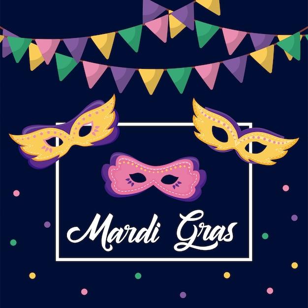 Mardi gras-kaart met maskers