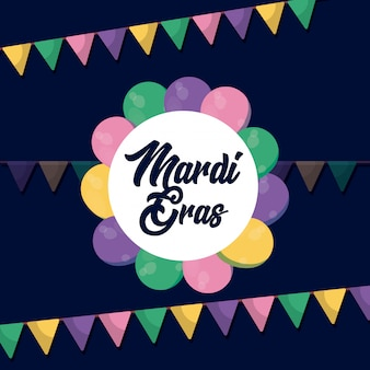 Mardi gras-kaart met slingers