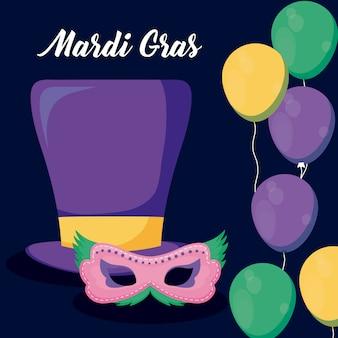 Mardi gras-kaart met tophat en masker