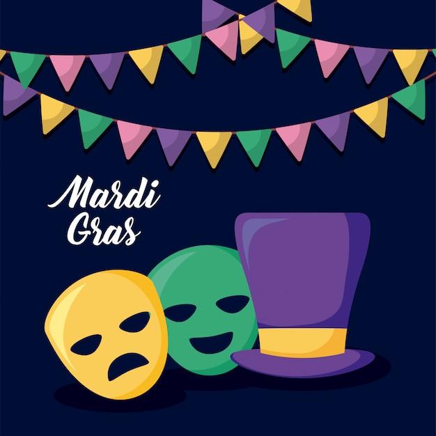 Mardi gras-kaart met tophat en maskers