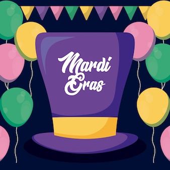Mardi gras-kaart met tophat