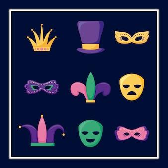 Mardi gras kaart set pictogrammen