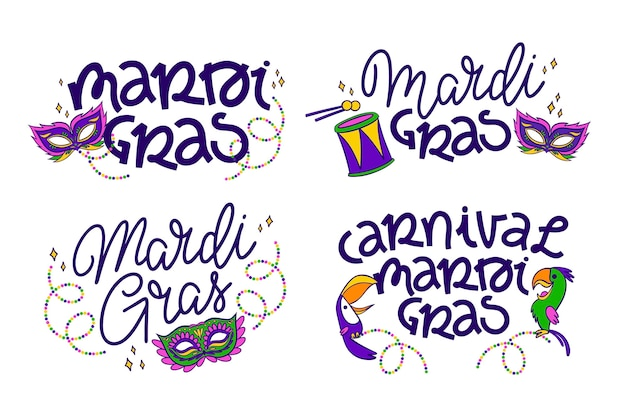 Mardi gras labels-collectie