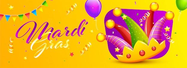 Mardi gras-lettertype met kleurrijke jester hoed, ballonnen en confetti versierd op geel. koptekst of banner.