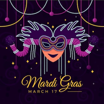 Mardi gras-masker in plat ontwerp