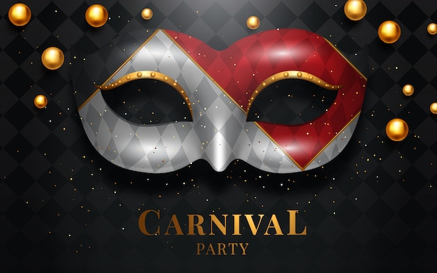 Mardi gras-masker, kleurrijke poster, sjabloon, flyer met plaats voor tekst