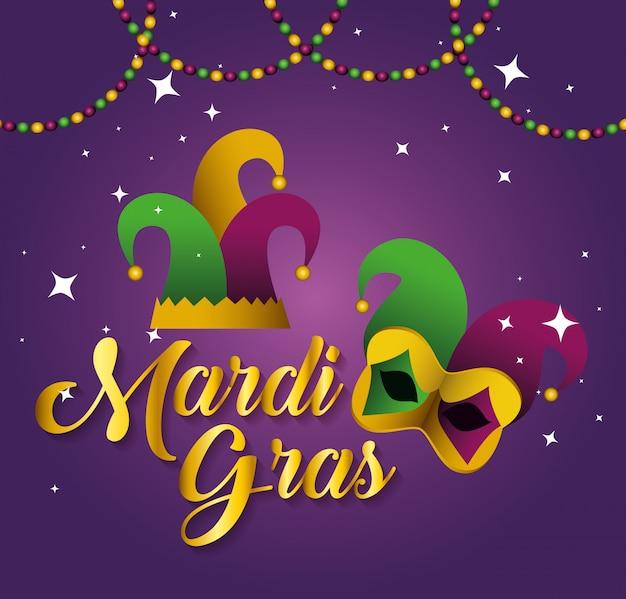 Mardi gras met feestmuts en masker