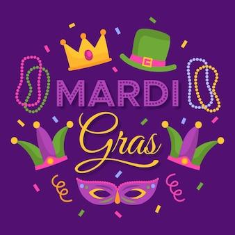 Mardi gras met masker en hoed