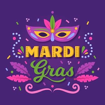 Mardi gras met masker en veer