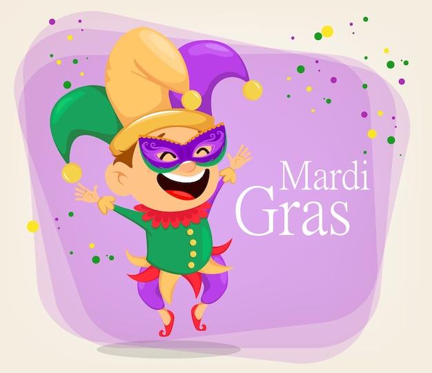Mardi gras nar in een masker voor poster of wenskaart