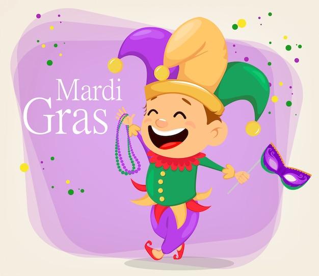 Mardi gras-narren met kettingen en masker