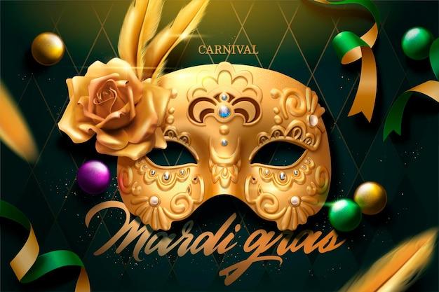 Mardi gras-ontwerp met gouden masker en vliegende slingers op groene ruitachtergrond, 3d illustratie